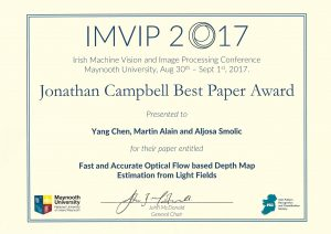 Congratulations Yang Chen on receiving The Best Paper Award at The Irish Machine Vision and Image Processing Conference, 2017.