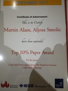 Congratulations to our colleague Martin Alain for receiving a Top 10% Paper Award at MMSP 2017 - IEEE 19th International Workshop!