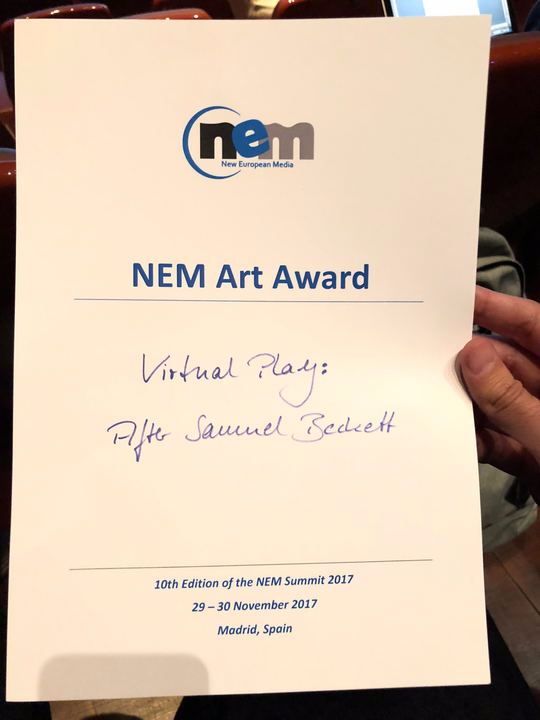 V-SENSE is awarded NEM Summit Art and Design Competition Award for Virtual Play: after Samuel Beckett!
