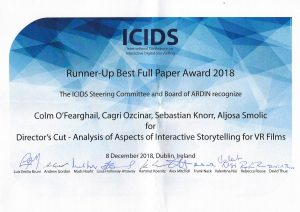 Colm Ó Fearghail awarded ICIDS 2018 Runner-Up Best Full Paper Award!