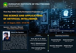 Koustav Ghosal presents webinar organized by Durgapur Institute of Advanced Technology and Management 25th - 27th August, 2020!