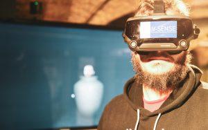 Gareth wearing a VR HMD