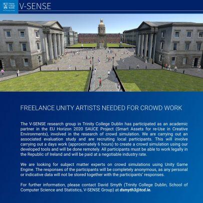 V-SENSE seeking freelance unity artists for crowd work!
