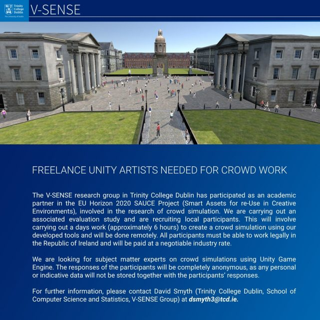 V-SENSE seeking freelance unity artists for crowd work!
