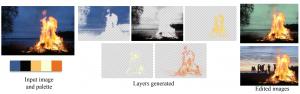 Image Decomposition using Geometric Region Colour Unmixing