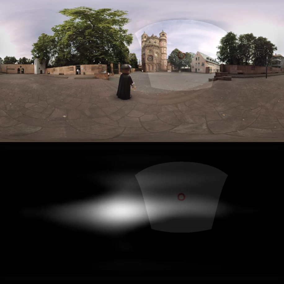 Frame from the film 'Luther' on top. Output from AVS360 on the bottom.